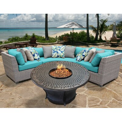 Florence Outdoor Wicker 4 Piece Fire Pit Seating Group with Cushion Fabric: White