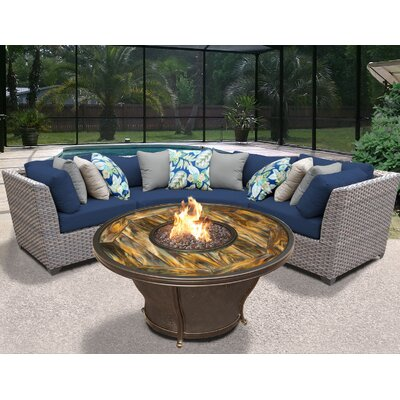 Florence Outdoor Wicker 4 Piece Fire Pit Seating Group with Cushion Fabric: Navy
