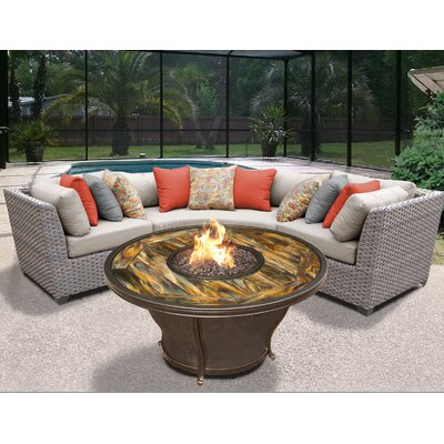 Florence Outdoor Wicker 4 Piece Fire Pit Seating Group with Cushion Fabric: Beige