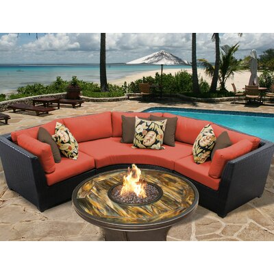 Barbados Outdoor Wicker 4 Piece Fire Pit Seating Group with Cushion Fabric: Tangerine