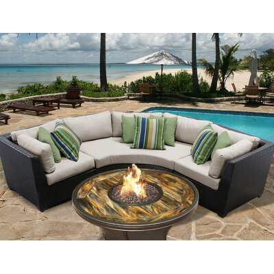 Barbados Outdoor Wicker 4 Piece Fire Pit Seating Group with Cushion Fabric: Beige