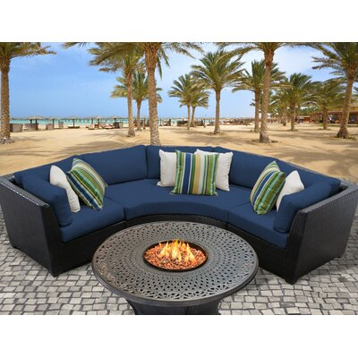 Barbados Outdoor Wicker 4 Piece Fire Pit Seating Group with Cushion Fabric: Navy