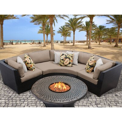 Barbados Outdoor Wicker 4 Piece Fire Pit Seating Group with Cushion Fabric: Wheat