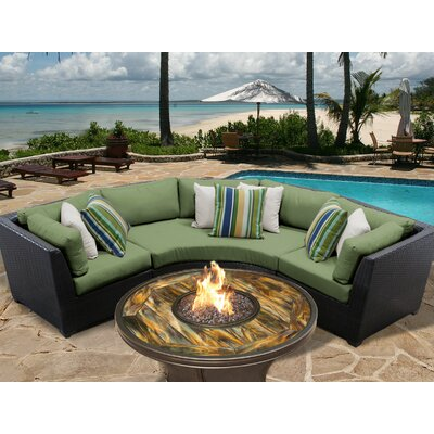Barbados Outdoor Wicker 4 Piece Fire Pit Seating Group with Cushion Fabric: Cilantro