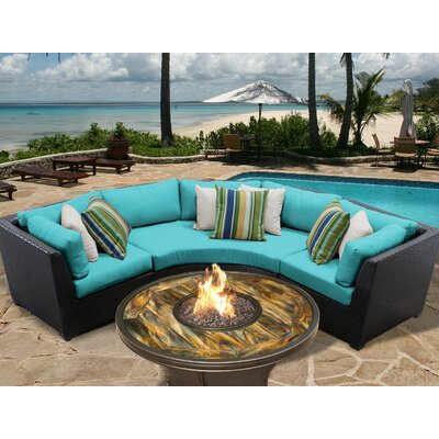 Barbados Outdoor Wicker 4 Piece Fire Pit Seating Group with Cushion Fabric: Aruba