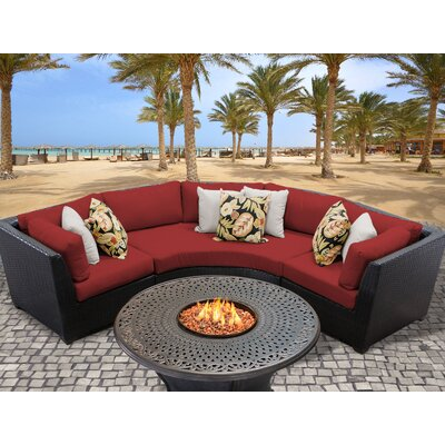 Barbados Outdoor Wicker 4 Piece Fire Pit Seating Group with Cushion Fabric: Terracotta