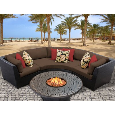 Barbados Outdoor Wicker 4 Piece Fire Pit Seating Group with Cushion Fabric: Cocoa