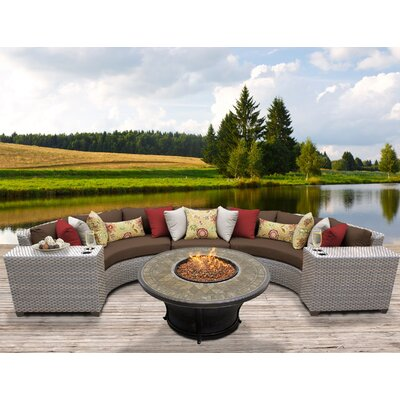 Florence Outdoor Wicker 6 Piece Fire Pit Seating Group with Cushion Fabric: Cocoa