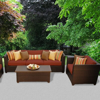 Barbados Outdoor Wicker 6 Piece Deep Seating Group with Cushion Fabric: Terracotta