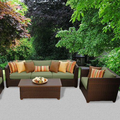 Barbados Outdoor Wicker 6 Piece Deep Seating Group with Cushion Fabric: Cilantro