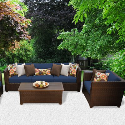 Barbados Outdoor Wicker 6 Piece Deep Seating Group with Cushion Fabric: Navy