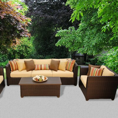 Barbados Outdoor Wicker 6 Piece Deep Seating Group with Cushion Fabric: Sesame
