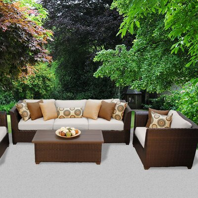 Barbados Outdoor Wicker 6 Piece Deep Seating Group with Cushion Fabric: Beige