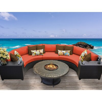 Barbados Outdoor Wicker 6 Piece Fire Pit Seating Group with Cushion Fabric: Tangerine