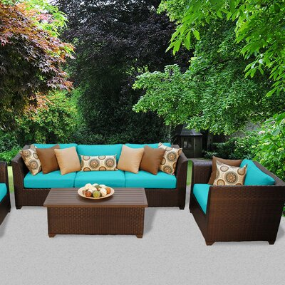 Barbados Outdoor Wicker 6 Piece Deep Seating Group with Cushion Fabric: Aruba