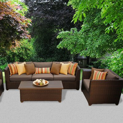 Barbados Outdoor Wicker 6 Piece Deep Seating Group with Cushion Fabric: Cocoa