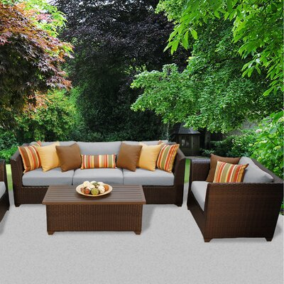 Barbados Outdoor Wicker 6 Piece Deep Seating Group with Cushion Fabric: Gray