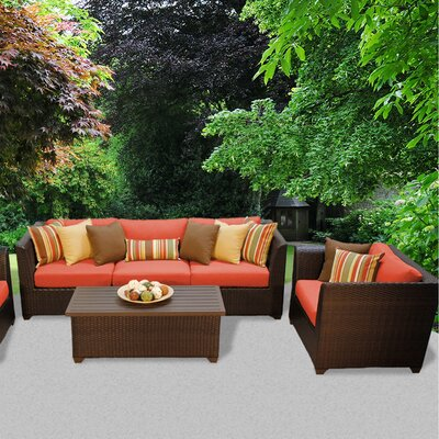 Barbados Outdoor Wicker 6 Piece Deep Seating Group with Cushion Fabric: Tangerine