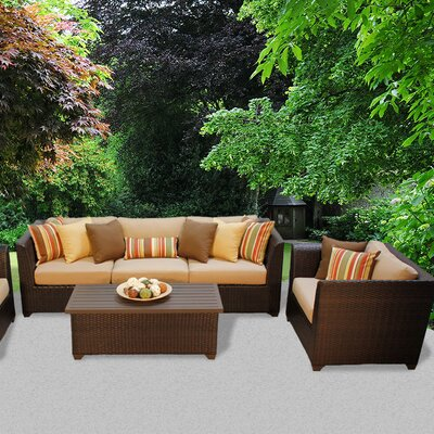 Barbados Outdoor Wicker 6 Piece Deep Seating Group with Cushion Fabric: Wheat