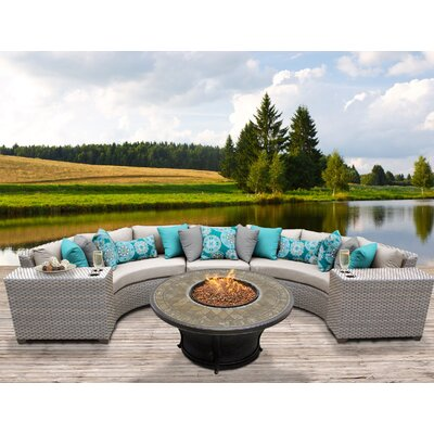 Florence Outdoor Wicker 6 Piece Fire Pit Seating Group with Cushion Fabric: Beige