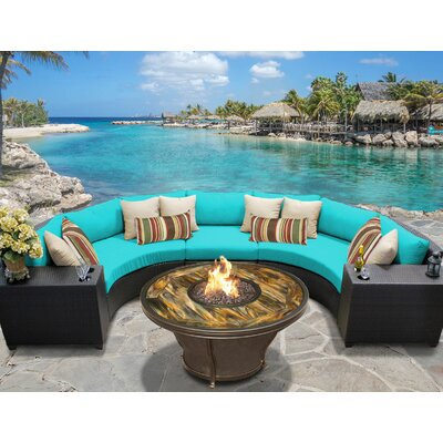 Barbados Outdoor Wicker 6 Piece Fire Pit Seating Group with Cushion Fabric: Aruba