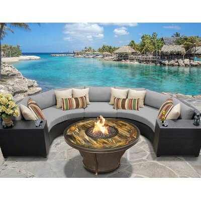 Barbados Outdoor Wicker 6 Piece Fire Pit Seating Group with Cushion Fabric: Gray
