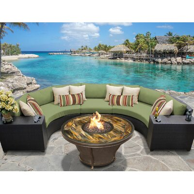 Barbados Outdoor Wicker 6 Piece Fire Pit Seating Group with Cushion Fabric: Cilantro