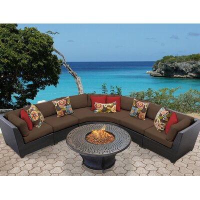 Barbados Outdoor Wicker 6 Piece Fire Pit Seating Group with Cushion Fabric: Cocoa
