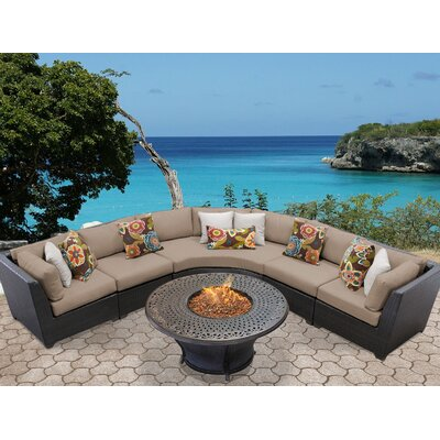 Barbados Outdoor Wicker 6 Piece Fire Pit Seating Group with Cushion Fabric: Wheat