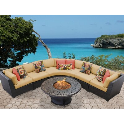 Barbados Outdoor Wicker 6 Piece Fire Pit Seating Group with Cushion Fabric: Sesame