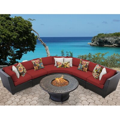 Barbados Outdoor Wicker 6 Piece Fire Pit Seating Group with Cushion Fabric: Terracotta