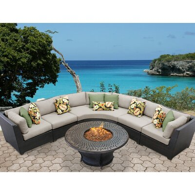 Barbados Outdoor Wicker 6 Piece Fire Pit Seating Group with Cushion Fabric: Beige
