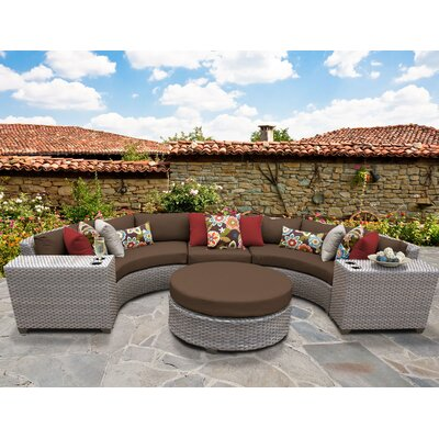 Florence Outdoor Wicker 6 Piece Sectional Seating Group with Cushion Fabric: Cocoa