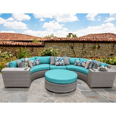 Florence Outdoor Wicker 6 Piece Sectional Seating Group with Cushion Fabric: Aruba