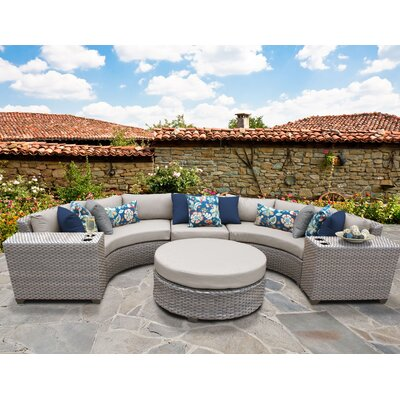 Florence Outdoor Wicker 6 Piece Sectional Seating Group with Cushion Fabric: Beige