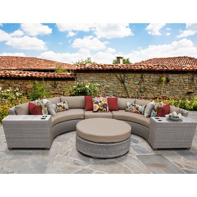 Florence Outdoor Wicker 6 Piece Sectional Seating Group with Cushion Fabric: Wheat