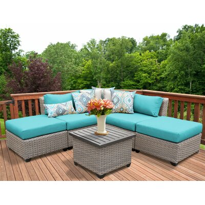 Florence Outdoor Wicker 6 Piece Sectional Seating Group with Cushion Fabric: White