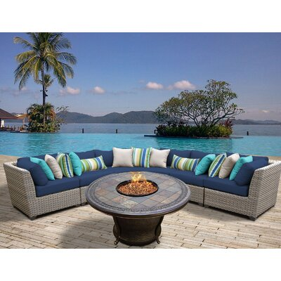 Florence Outdoor Wicker 6 Piece Fire Pit Seating Group with Cushion Fabric: Navy