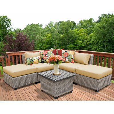 Florence Outdoor Wicker 6 Piece Sectional Seating Group with Cushion Fabric: Sesame