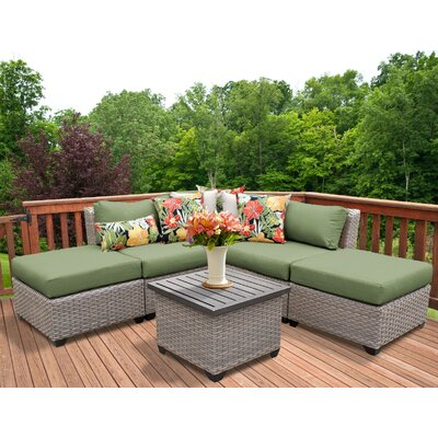 Florence Outdoor Wicker 6 Piece Sectional Seating Group with Cushion Fabric: Cilantro