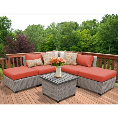 Florence Outdoor Wicker 6 Piece Sectional Seating Group with Cushion Fabric: Tangerine