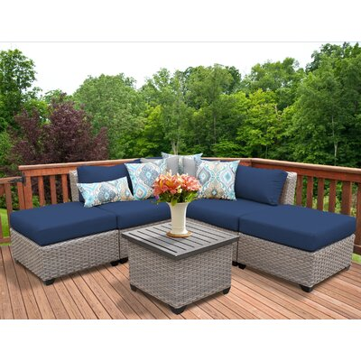 Florence Outdoor Wicker 6 Piece Sectional Seating Group with Cushion Fabric: Navy