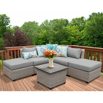 Florence Outdoor Wicker 6 Piece Sectional Seating Group with Cushion Fabric: Gray