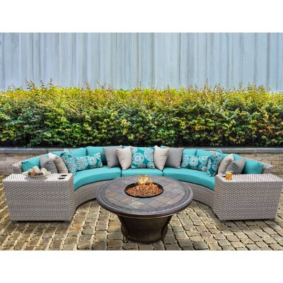 Florence Outdoor Wicker 6 Piece Fire Pit Seating Group with Cushion Fabric: White
