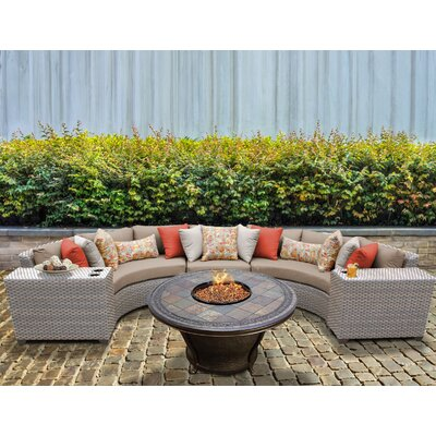 Florence Outdoor Wicker 6 Piece Fire Pit Seating Group with Cushion Fabric: Wheat