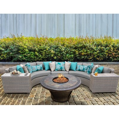 Florence Outdoor Wicker 6 Piece Fire Pit Seating Group with Cushion Fabric: Gray