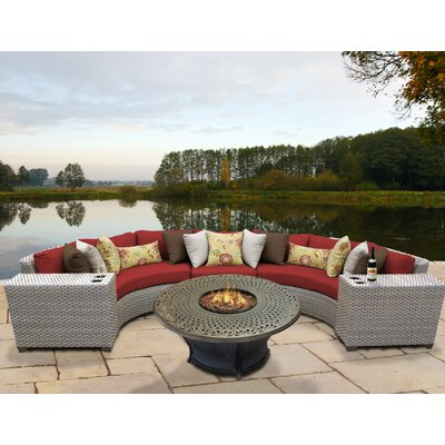 Florence Outdoor Wicker 6 Piece Fire Pit Seating Group with Cushion Fabric: Terracotta