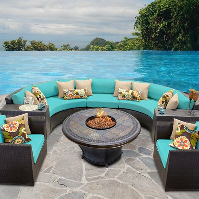 Barbados Outdoor Wicker 8 Piece Fire Pit Seating Group with Cushion Fabric: Aruba