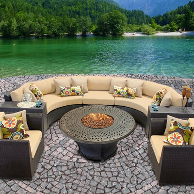 Barbados Outdoor Wicker 8 Piece Fire Pit Seating Group with Cushion Fabric: Sesame