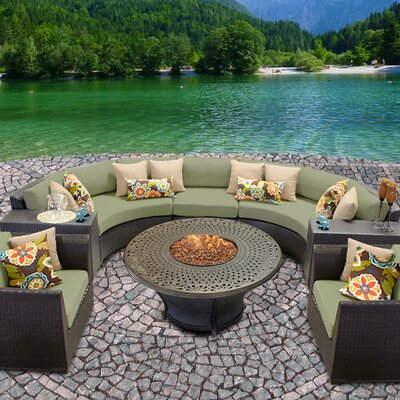 Barbados Outdoor Wicker 8 Piece Fire Pit Seating Group with Cushion Fabric: Cilantro